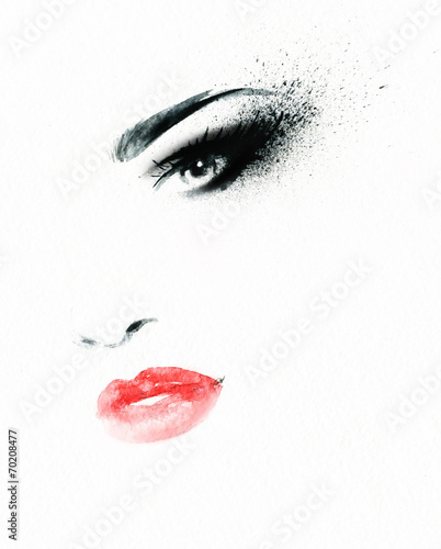Deurstickers Aquarel Gezicht woman face