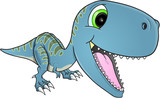 Fototapeta Dinusie - Happy Dinosaur T-Rex Vector Illustration Art