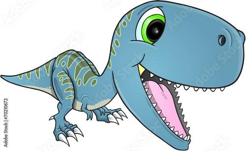Garden Poster Cartoon draw Happy Dinosaur T-Rex Vector Illustration Art