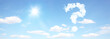 Leinwandbild Motiv Fragezeichen am Himmel Panorama