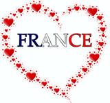 Fototapeta Paryż - serce z serc i napis France