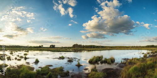 In de dag Blauwe jeans Summer sunset panorama landscape over wetlands