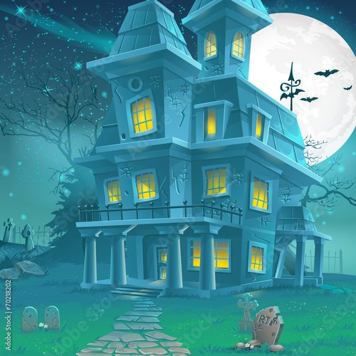 Valokuvatapetti Illustration of a mysterious haunted house on a moonlit night