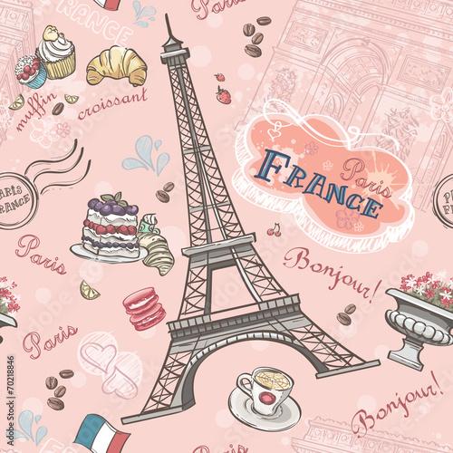 Bezszwowy wzór na Paryż od romantycznych elementów