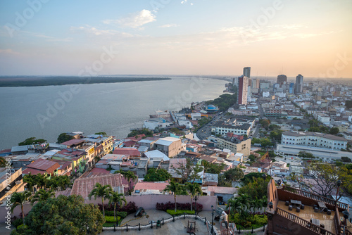 High view of the city of Guayaquil and it's river