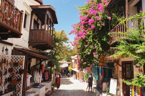 Poster Turquie Street in Kaş with traditional houses, Turkey