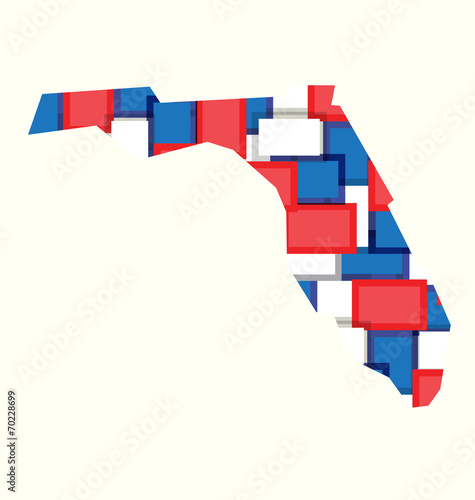 Florida red,white,blue color squares map. Concept of politics