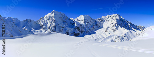 Spoed Foto op Canvas Alpen Winter mountains, panorama - Italian Alps
