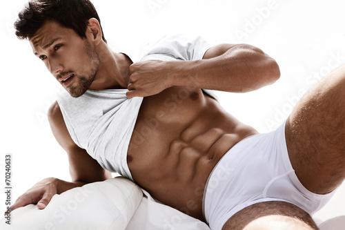 Sexy portrait of muscular male model in underwear