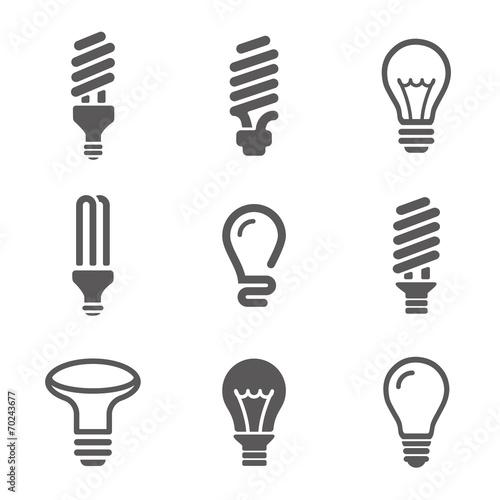 Light bulbs. Bulb icon set Wallpaper Mural