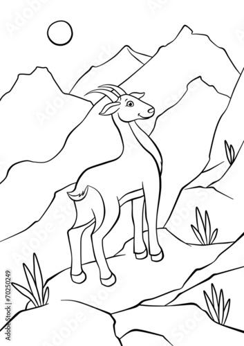 Papiers peints Cartoon draw Atnelope walking on rocks