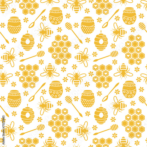 Seamless pattern with bees and honey