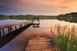 Colorful sunset at lake
