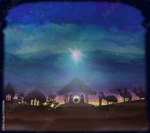 Foto Biblical scene - birth of Jesus in Bethlehem.