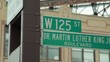 Martin Luther King Jr. blvd street sign in Harlem NYC