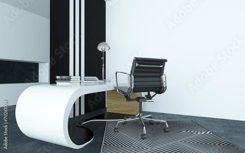 Oryginał Obraz płótno Modułowa zakrzywione nowoczesne białe biurko w biurze NT64