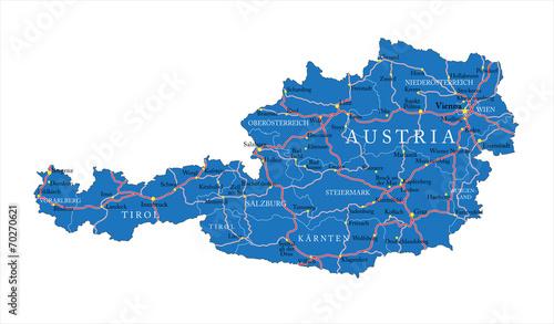 Valokuva  Austria map
