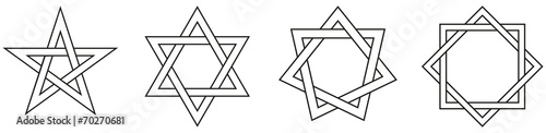 Photo  Geometric Star Figures Outline