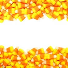 Halloween Candy Corn Double Border Over White