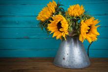 Sunflower In Metal Vase