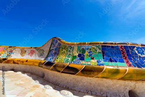 Papel de parede Ceramic Bench Park Guell - Barcelona Spain