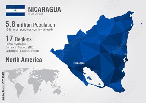 Nicaragua world map with a pixel diamond texture. – kaufen Sie diese ...