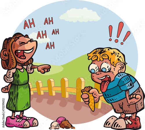 In de dag Regenboog Child and ice cream cone