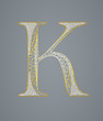 Abstract golden letter K. Illustration 10 version