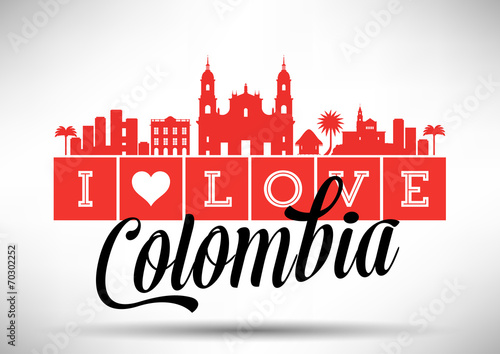 Fotografía  I Love Colombia Skyline Design
