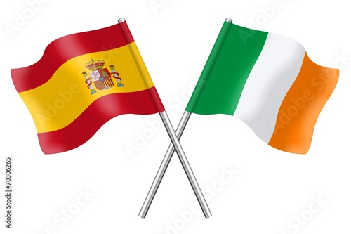 Flags: Spain and Ireland Poster