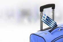 Destination Greece. Blue Suitcase With Flag.