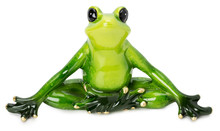 Statue Of Green Frog On The White Background