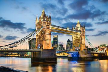 Tower Bridge in London, UK at night