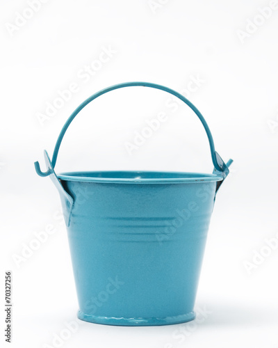 Small blue colored empty bucket isolated in white Wall mural