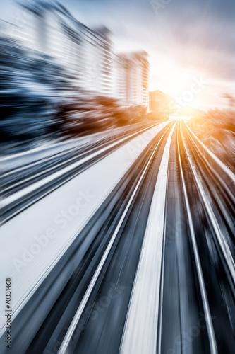 Photo City Metro Rail,motion blur