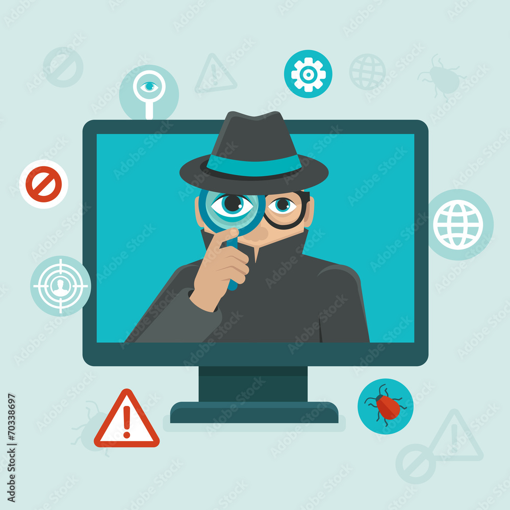 Fototapeta Internet security and spayware warning