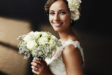 Stunning Young Bride Holding Bouquet, Portrait.