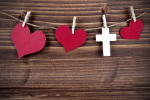 Hearts And A Cross On A Line