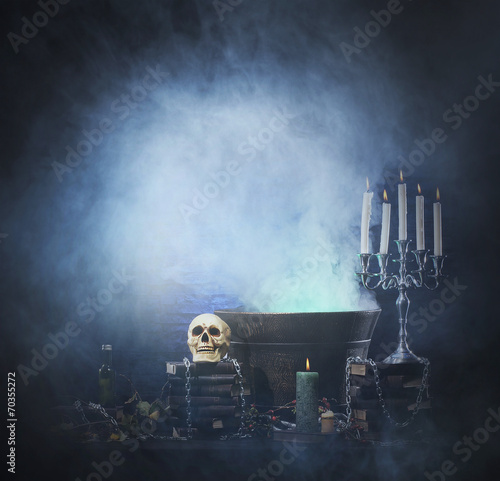 Fotografie, Obraz  Halloween background with a lot of different witchcraft tools