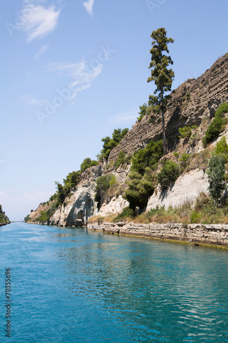 Fototapeta Kanal Passage von Korinth zwischen Griechenland u Peloponnese