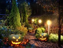 Garden Patio With Jack-o-Lanterns