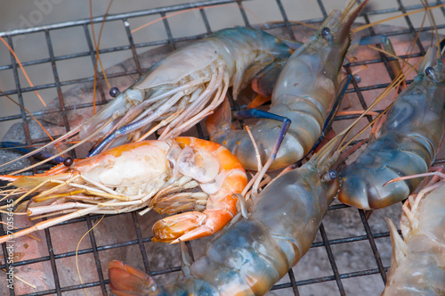 Fotobehang Schaaldieren grilled shrimps