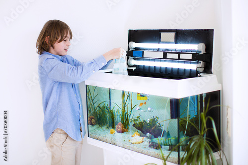 Fotografie, Obraz  Child putting new fish in an aquarium