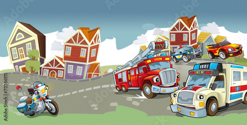 Poster Cars Cartoon vehicles - illustration for the children