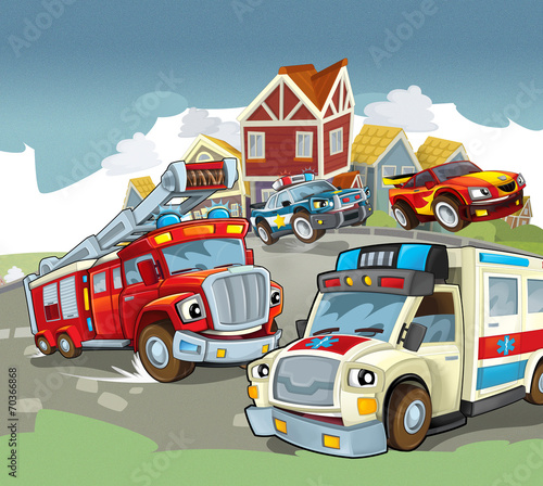Foto op Canvas Cars Cartoon vehicles - illustration for the children