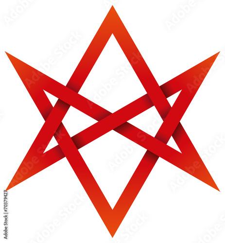 Photo  Red Unicursal Hexagram 3D