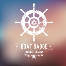 Boat Badge Grunge Symbol On Bl...