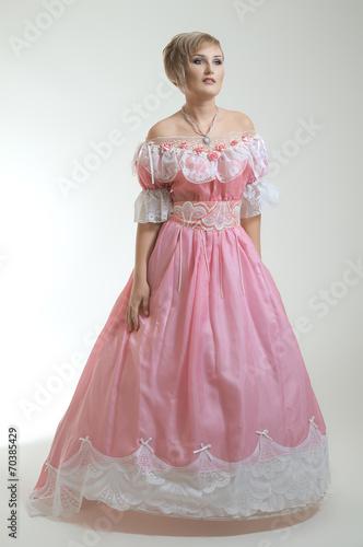 Garden Poster Fairytale World Blond woman in beautiful long pink dress