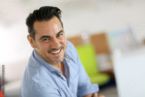Fotografia, Obraz  Portrait of smiling mature man