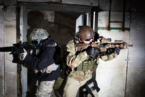 Photo  Special forces or contractor team during night mission/operation